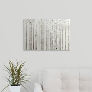 'Birch Trees on White' by Avery Tillmon Graphic Art on Wrapped Canvas by Great Big Canvas