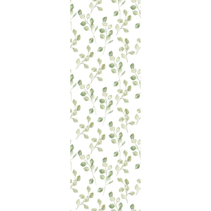 Meleri Removable Green Leaves On White Background 8 33 L X 25 W Peel And Stick Wallpaper Roll