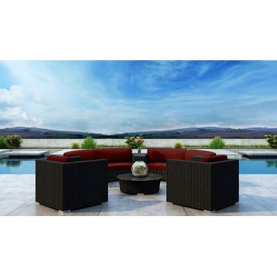 Glendale 6 Piece Sectional Seating Group with Sunbrella Cushion Cushion Color: Canvas Henna, Frame Color: Coffee Bean