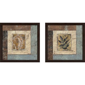 Blue Brown Fern II' 2 Piece Framed Acrylic Painting Print Set Under Glass by Winston Porter