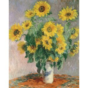 'Sunflowers' by Claude Monet Painting Print on Wrapped Canvas by Charlton Home