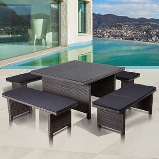 Neo Low Patio 5 Piece Dining Set with Cushions By Beachcrest Home