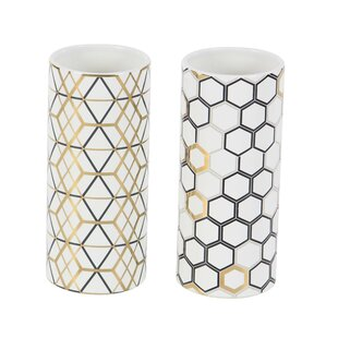 Affordable Renfro Modern Honeycomb and Geometric-Patterned Cylindrical 2 Piece Vase Set ByWrought Studio
