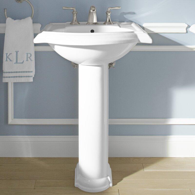 Devonshire Ceramic 24 Pedestal Bathroom Sink With Overflow