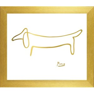 Famous Painting 'The Dog in Chic Gold Imitation Metallic' by Pablo Picasso Framed Graphic Art Print by Buy Art For Less