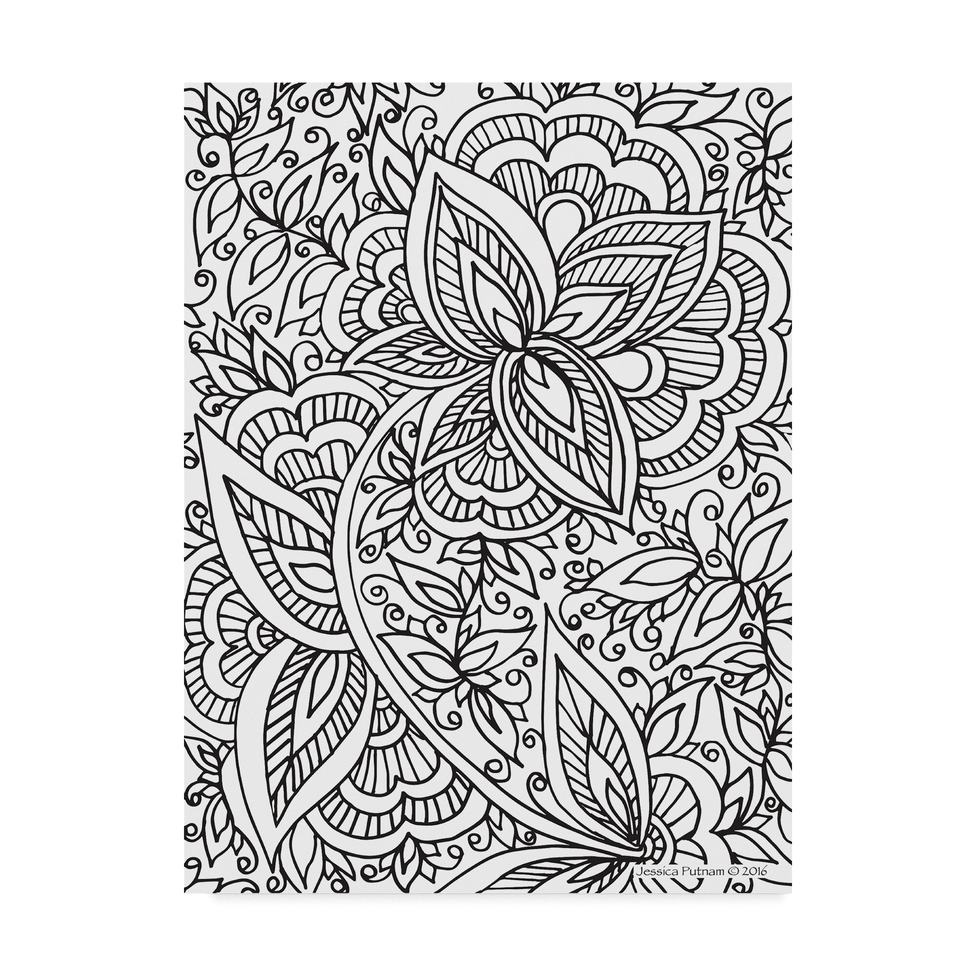 Trademark Art Floral Patterns 10 Drawing Print On Wrapped Canvas