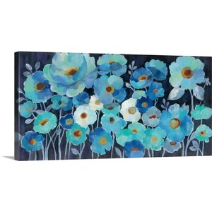 'Indigo Flowers' by Silvia Vassileva Painting Print on Canvas by Great Big Canvas