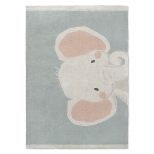 Elephant Orange/White/Green Area Rug