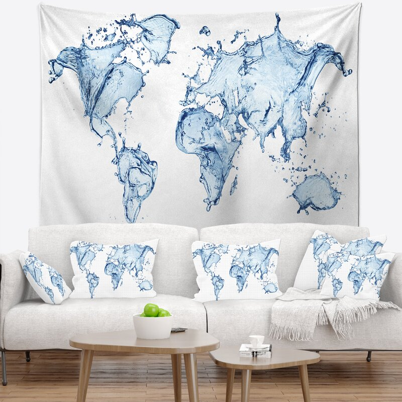 East urban home abstract world map water splash tapestry and wall abstract world map water splash tapestry and wall hanging gumiabroncs Image collections