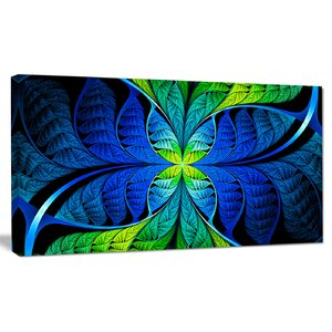 'Blue Green Fractal Stained Glass' Graphic Art on Canvas by Design Art