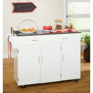 Garrettsville Kitchen Island with Stainless Steel Top by Red Barrel Studio Top Reviews