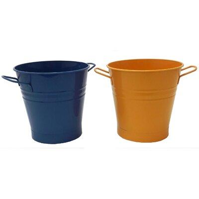 Enameled French Pail Steel Bucket Winston Porter Color: Blue-Saffron