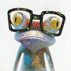 'Hipster Froggy II' Painting Print on Wrapped Canvas by Ivy Bronx