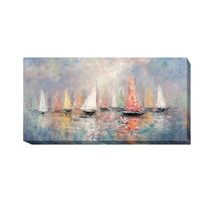 'Colored Sails' Oil Painting Print on Wrapped Canvas by Artistic Home Gallery