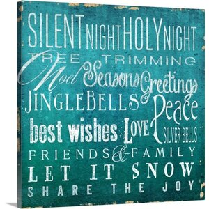 Christmas Art 'Holiday Type I' by Elizabeth Medley Textual Art on Wrapped Canvas by Canvas On Demand