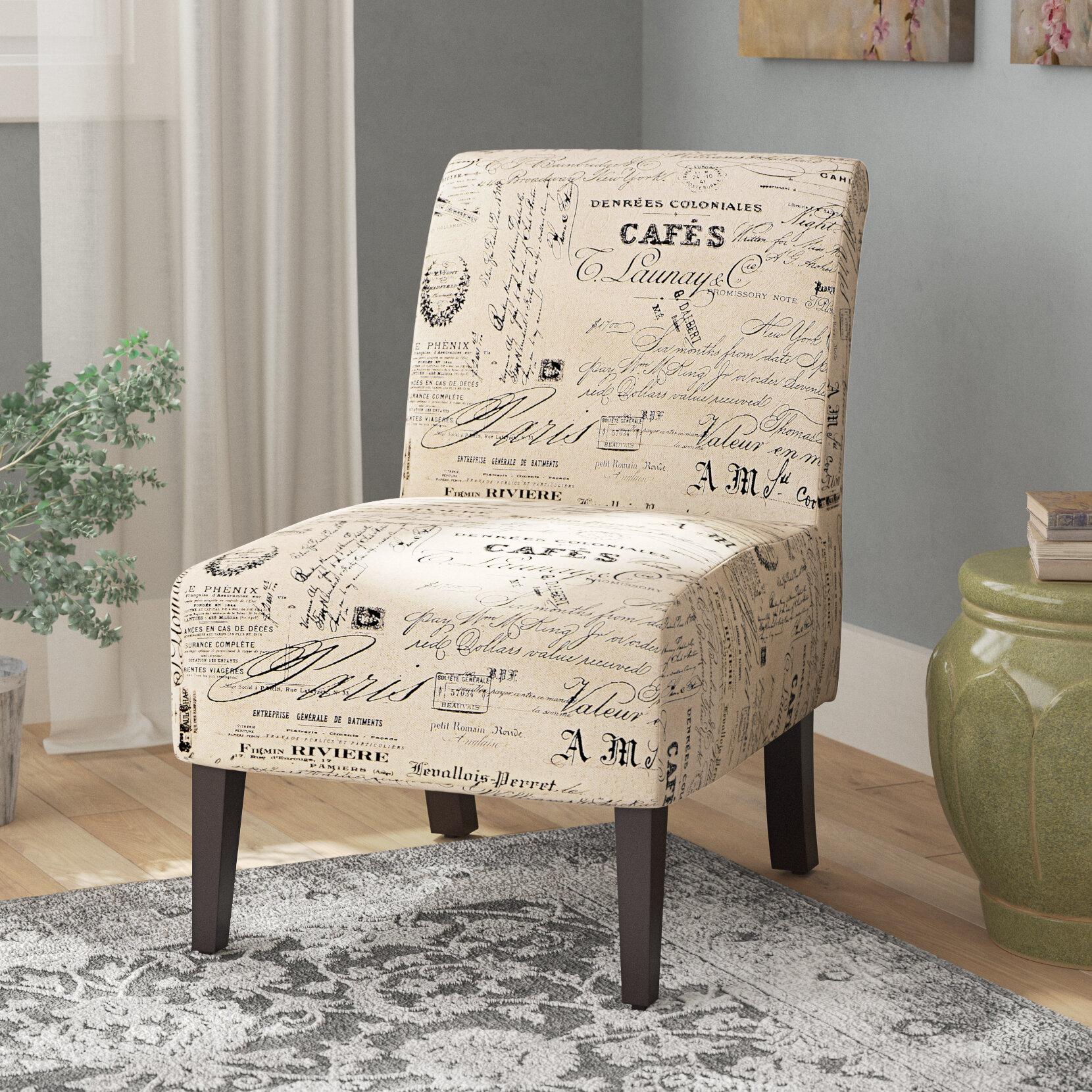 Lark Manor Heliotrope Linen Script Lily Slipper Chair U0026 Reviews | Wayfair