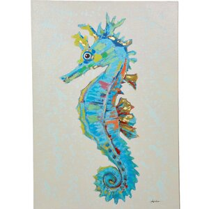 Seahorse Painting on Canvas by Y Decor
