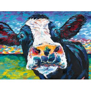 Curious Cow II Painting Print on Wrapped Canvas by Marmont Hill