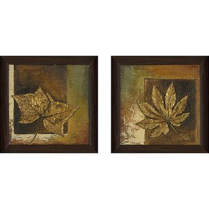 'Golden Leaves' 2 Piece Framed Acrylic Painting Print Set Under Glass by Andover Mills