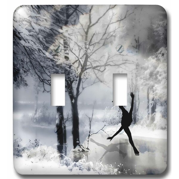 Figure Skater Silhouette Skating on a Frozen Pond in a Beautiful Winter Snow Scene 2-Gang Toggle Light Switch Wall Plate by 3dRose
