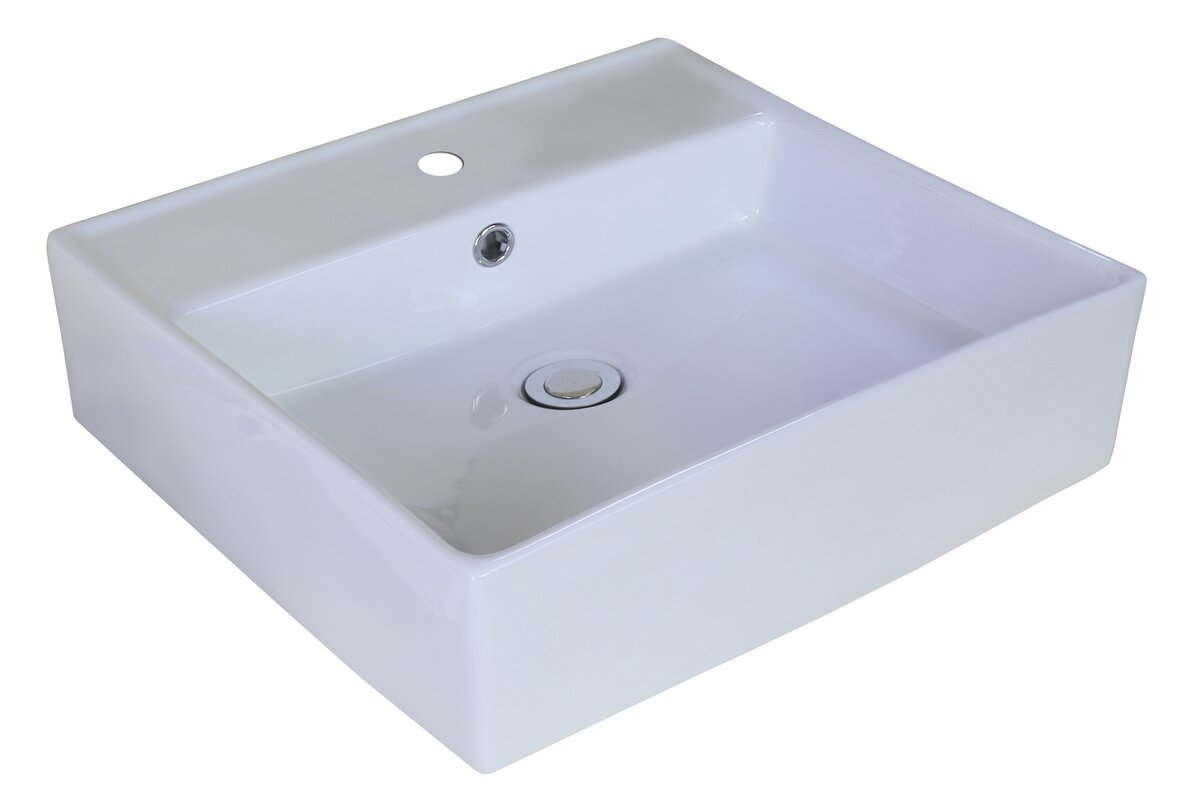 American Imaginations Ceramic Square Vessel Bathroom Sink with ...