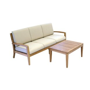 Ohana 2 Piece Teak Sofa Seating Group with Cushions By Ohana Depot