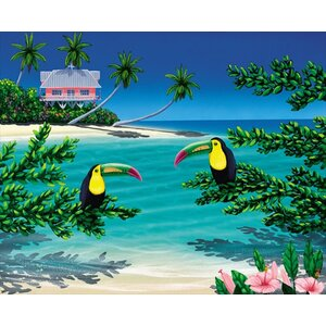Pink House Paradise by Dan Mackin Graphic Art on Wrapped Canvas by Hadley House Co