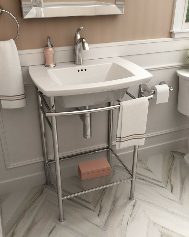 """American Standard Edgemere 25"""" Console Bathroom Sink With Overflow & Reviews"""