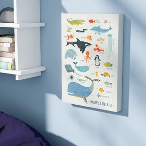 Geoffrey Marine Life A-Z by Irene Chan Stretched Canvas Wall Art by Viv + Rae