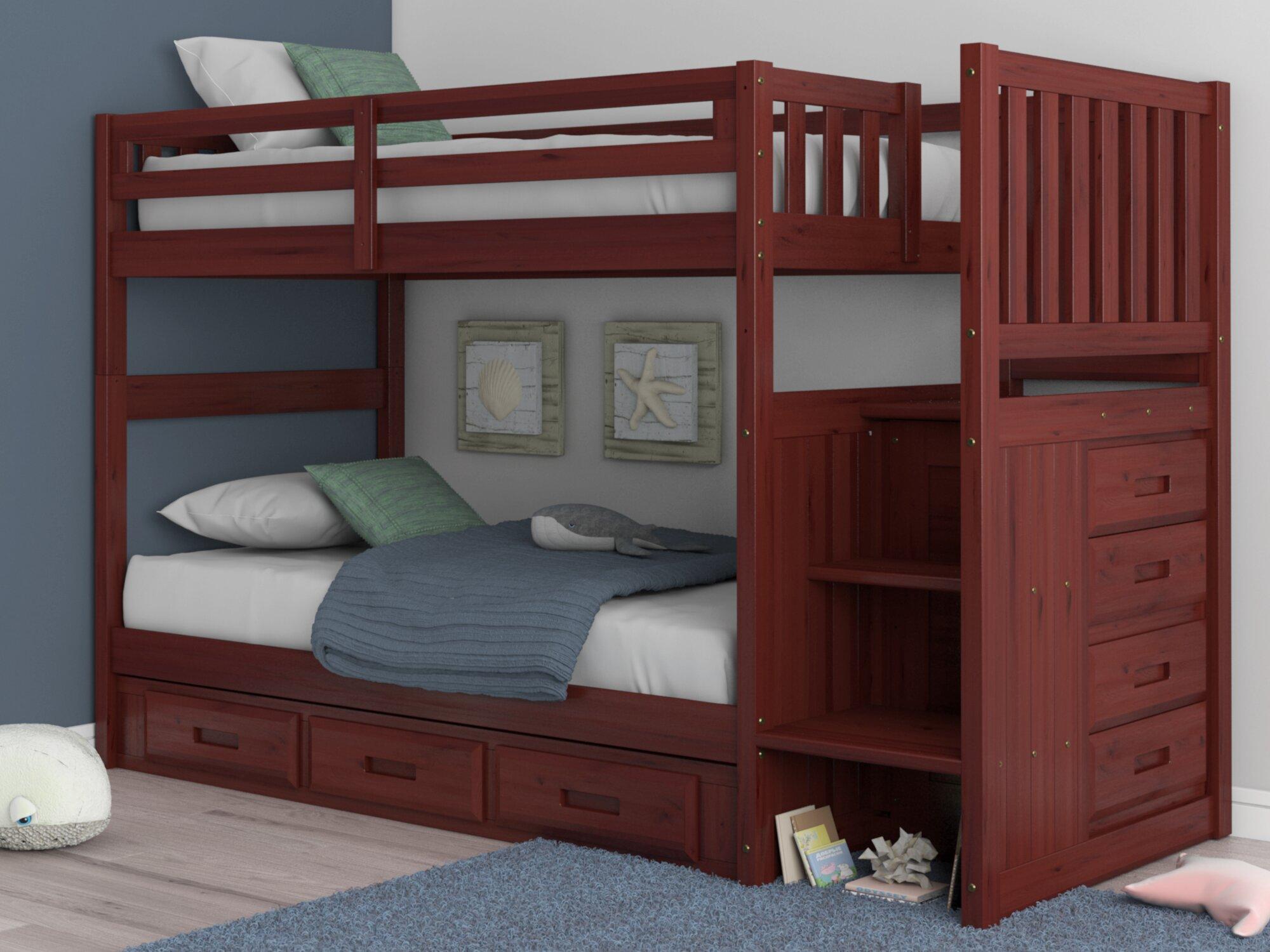 Lit Superposé Marche Escalier lit superposé simple au dessus d'un lit simple avec tiroirs trumble