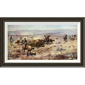 'The Round-Up' by Charles M. Russell Framed Painting Print by Global Gallery