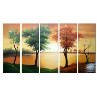 Four Seasons on The Water 5 Piece Painting on Canvas Set