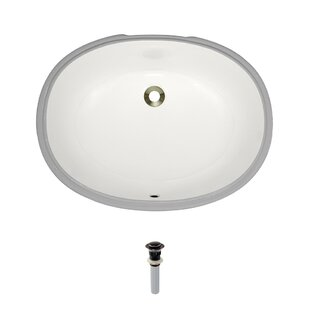 Compare Vitreous China Oval Undermount Bathroom Sink with Overflow And Drain Assembly ByMR Direct