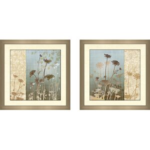 'Delicate Fields II' 2 Piece Framed Graphic Art Print Set by Latitude Run