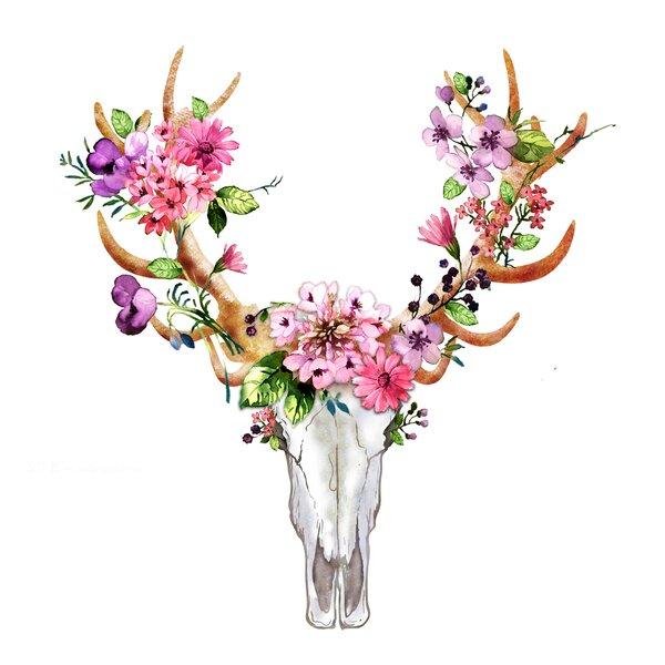 Bungalow Rose Rustic Deer Skull With Flowers Oil Painting Print On Wrapped Canvas Wayfair