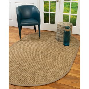 Carnes Basketweave Border Hand-Knotted Beige Area Rug by Bay Isle Home