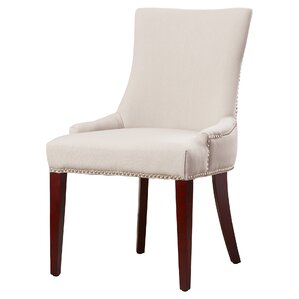 Alpha Centauri Upholstered Side Chair in Linen - Grey with Nickel Nailheads by Brayden Studio