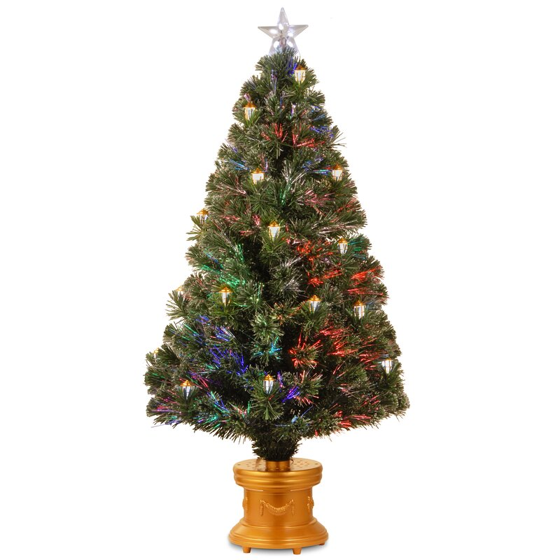 4' Fiber Optics Green Firework Artificial Christmas Tree with Multicolored  Lights - The Holiday Aisle 4' Fiber Optics Green Firework Artificial