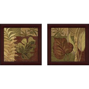 'Tropical Foliage' 2 Piece Framed Acrylic Painting Print Set Under Glass by World Menagerie