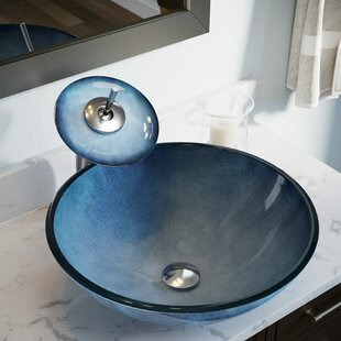 Compare Hand-Painted Glass Circular Vessel Bathroom Sink By MR Direct