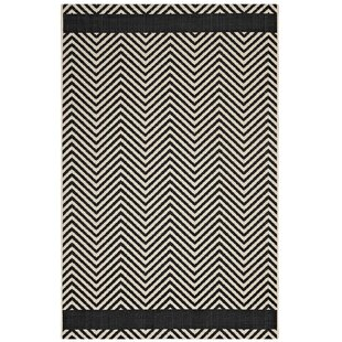 Triston Chevron Black Beige Indoor Outdoor Area Rug
