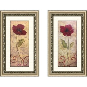 'Poppy Passion I' 2 Piece Framed Acrylic Painting Print Set by Ophelia & Co.
