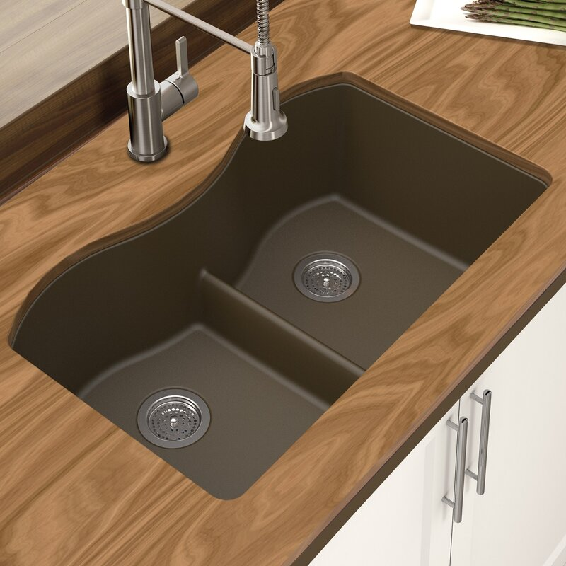 granite quartz 31   x 18   double bowl undermount kitchen sink winpro granite quartz 31   x 18   double bowl undermount kitchen      rh   wayfair com