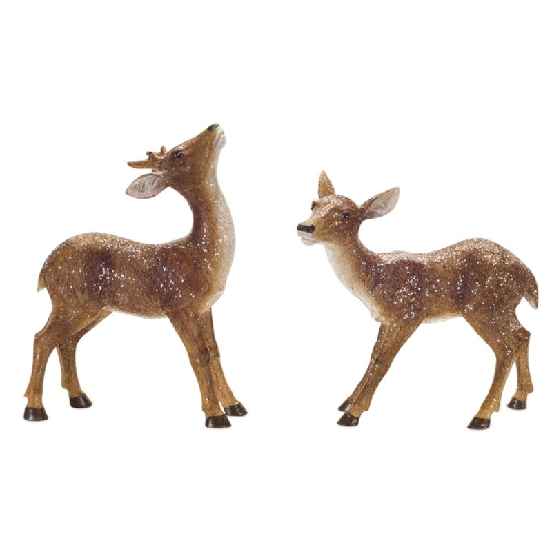"""14/"""" Small Tabletop White Laying Tranquil Deer Statue Home Indoor Christmas Decor"""