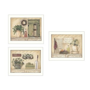 'Garden Bath' 3 Piece Framed Graphic Art Print Set by Trendy Decor 4U