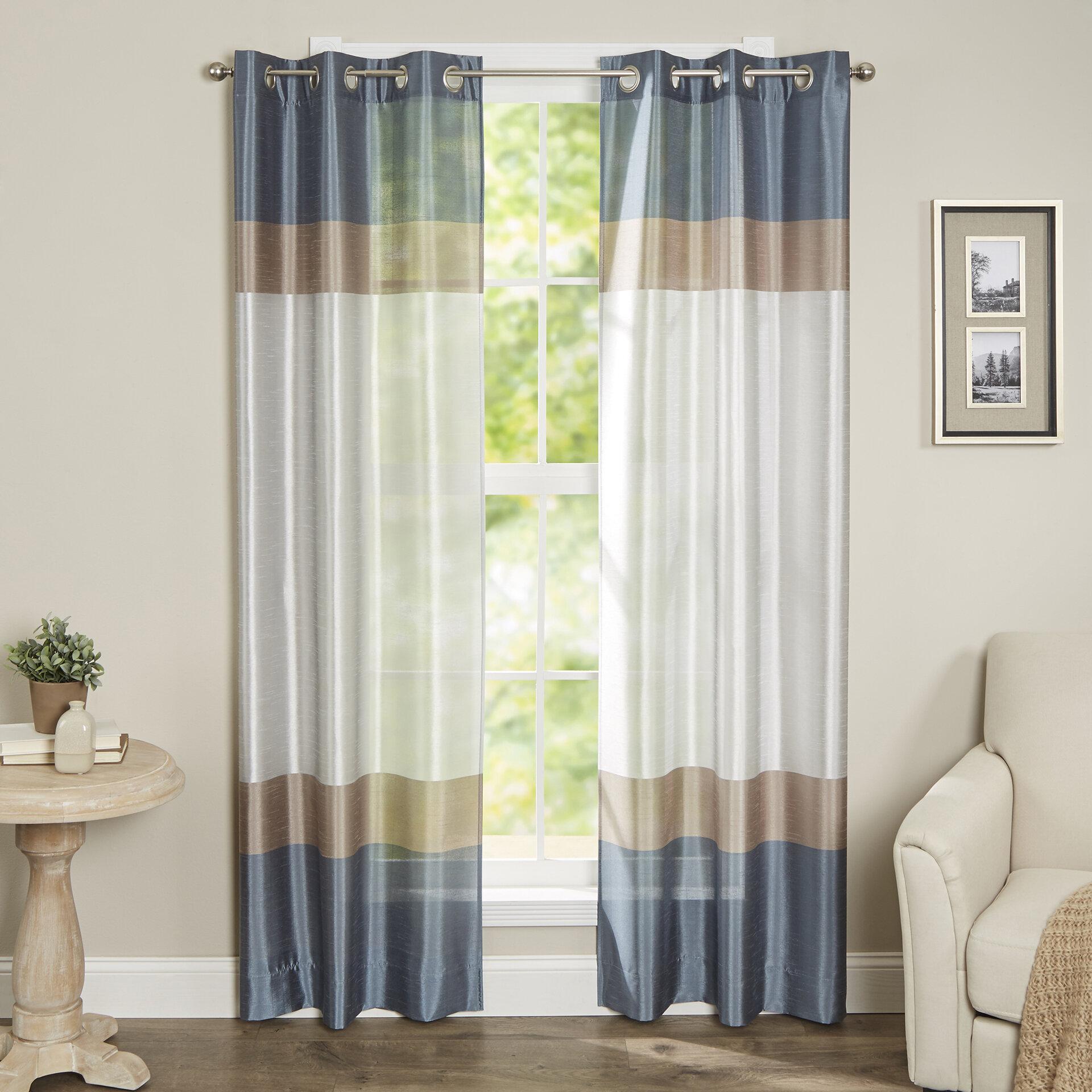 Alcott Hill Homewood Striped Semi Sheer Grommet Curtain