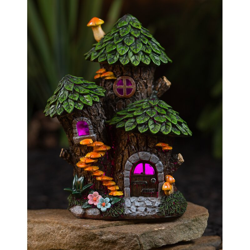 Trinx Mystic Gnome Fairy House With Color Changing Led Solar Outdoor Garden Light Reviews Wayfair