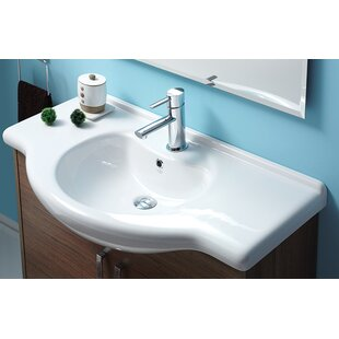 Comparison Nil Ceramic 34 Wall Mount Bathroom Sink with Overflow By CeraStyle by Nameeks