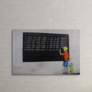 'Serving Detention' by Banksy Painting Print on Wrapped Canvas by Pingo World