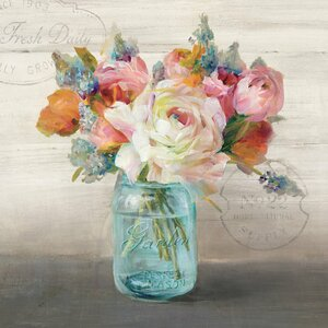 French Cottage Bouquet II Painting Print on Wrapped Canvas by East Urban Home